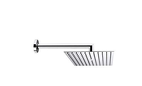 Bossini Soffione doccia Twiggy in acciaio inox con braccio doccia orizzontale da 300 mm per bagno H70583G cromato