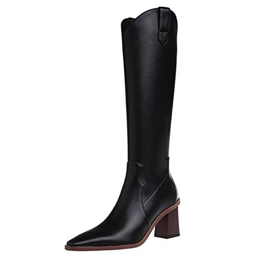Botas de cuero para mujer, cómodas, para fiestas, banquetes, botas altas, tacón de bloque, cremallera, punta puntiaguda, Retro, moda de negocios, botas altas hasta la rodilla
