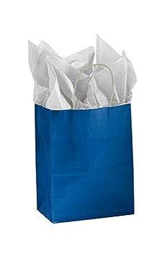 "SSWBasics Medium Glossy Royal Blue Paper Shopping Bags - 8 ¼""L x 4 ¾""D x 10 ½""H - Case of 25"