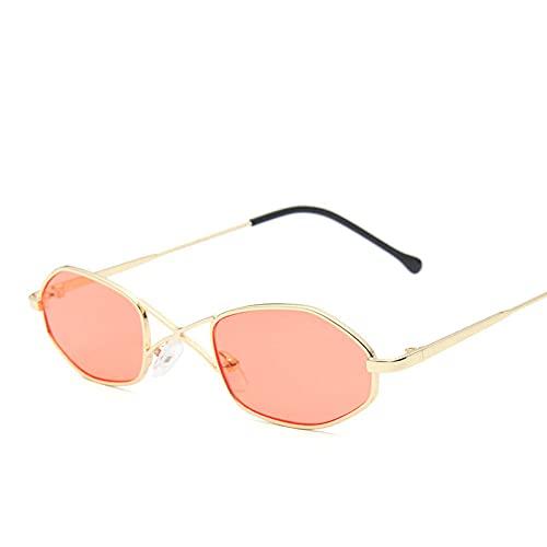 Powzz ornament Gafas de sol de ojo de gato con montura pequeña para mujer, gafas de sol Vintage con espejo oceánico para mujer, gafas de sol de polígono de lujo Retro, rojo dorado