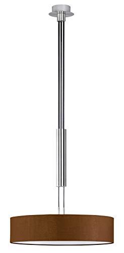Trio Leuchten JoJo-Pendelleuchte in Nickel matt, Stoffschrim braun, exklusive 3x E27 maximal 60W, ø 50 cm, Höhe: 105 - 180 cm 303300314
