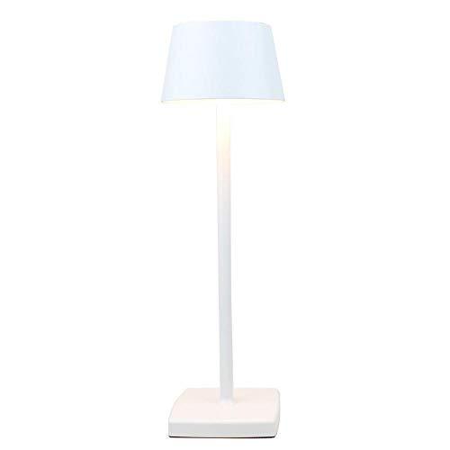Lámpara de mesa recargable, lámpara de mesa LED, lámpara de mesa inalámbrica, lámpara de mesa de protección de los ojos, clase de protección IP54, adecuada para jardin/mesita de noche blanca