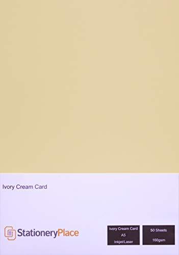 Stationery Place - Cartoncino sottile, 160 g/mq, formato A5, confezione da 50 fogli, colore: avorio/crema