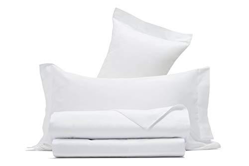 Completo letto lenzuola in raso di puro cotone Made in Italy (MATRIMONIALE, Bianco)