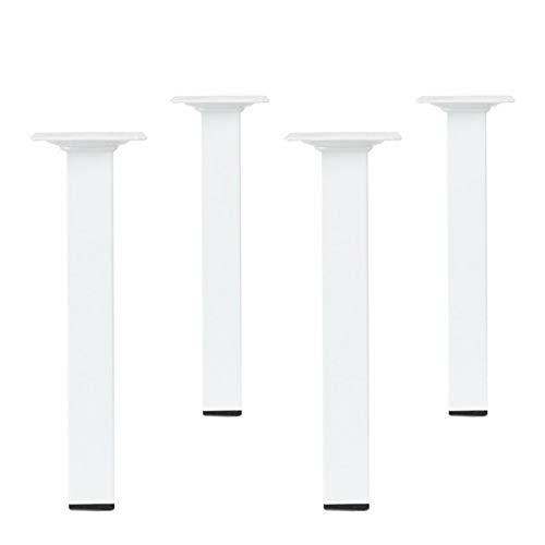 Möbelstützen 4er Set Ausführung Eckig Weiß 25 x 25 mm Höhe 700 mm Tischbeine