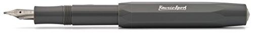 Kaweco Füllfederhalter Skyline Sport I Premium Füllfederhalter Luxus für Tintenpatronen mit hochwertiger Stahlfeder I Kaweco Sport Füller 13,5 cm Grau Federbreite: M (Medium)
