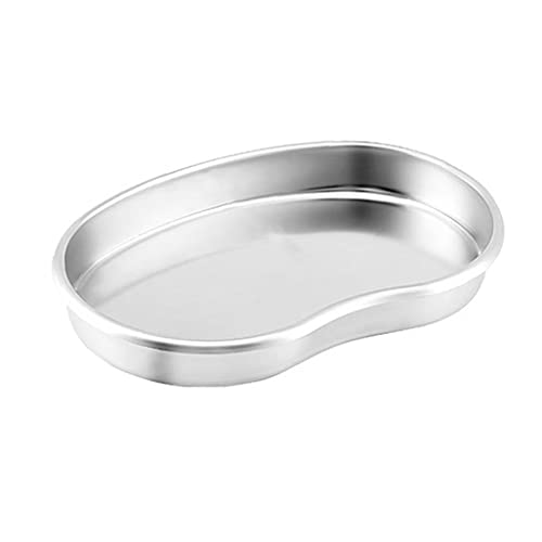 BRAVOSOLEIL Stainless Steel Tray Kidney Bowl Kidney Shaped Basin Reusable Metal Kidney Dish L