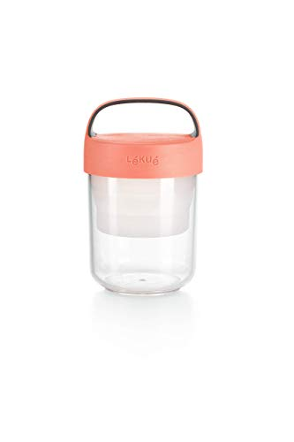 Lékué - Recipiente hermético para transportar alimentos, Coral, 400 ml