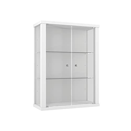 K-Möbel Vitrina en Blanco con 2 estantes de Vidrio Regulables en Altura con Las Dimensiones externas 80x60x25 cm.