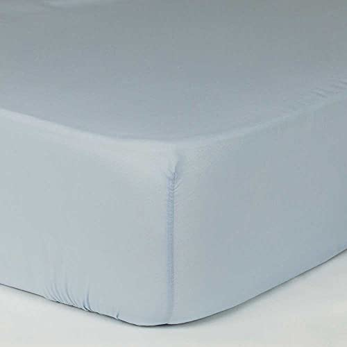 PimpamTex – Sábanas Bajeras Ajustables 100% Algodón Suave y Transpirable para Cama de 90, Bajera con Elástico Ajustable con Gran Variedad de Colores (90x200 cm, Celeste)