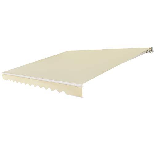 RELAX4LIFE Tenda da Sole Avvolgibile, Tenda da Veranda Retrattile con Manovella Manuale, Tenda da Esterno in Tessuto Impermeabile, Angolazione Regolabile per Balcone e Terrazzo, 3x2,5 m (Beige)