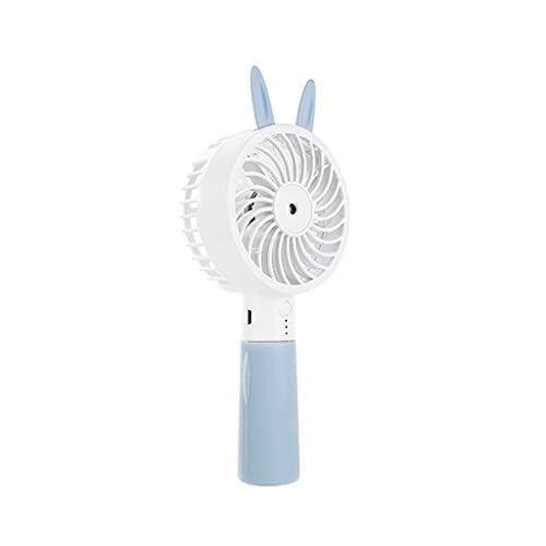 Mini ventilador Lindo Oreja de gato portátil USB recargable Mini práctico ventilador de refrigeración de escritorio de bolsillo de agua humidificador de aire (color: azul, tipo de enchufe: CN)