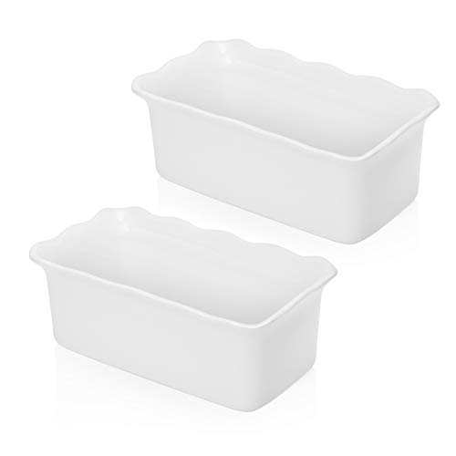 Sweese 519.201 Porcelain loaf pan for Baking, Non-Stick Bread Pan Cake Pan, Perfect for Bread and Meat, 9 x 5 inches, Set of 2, White