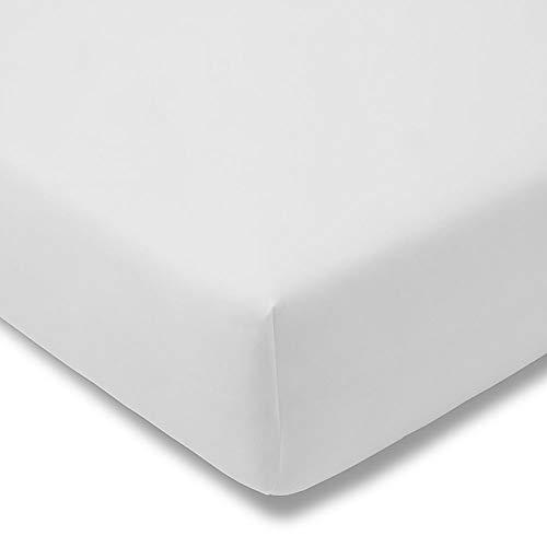ESTELLA Spannbetttuch Zwirnjersey | Weiß | 100x200 cm | passend für Matratzen 90-120 cm (Breite) x 200-220 cm (Länge) | trocknerfest und bügelfrei | 97% Baumwolle 3% Elastan