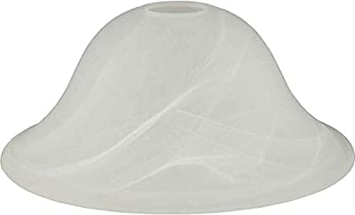 Hardware House 16-5327 Replacement Dover Alabaster Glass Satin Nickel Height: 1.125 inch, Width: 9.625 inch, Top Opening = 1.5 inch