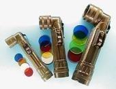 A. Blöchel US Army Style Winkelstabtaschenlampe Winkelstablampe mit 4 auswechselbaren Farbfiltern Klein, Medium oder Groß (Oliv, Klein)