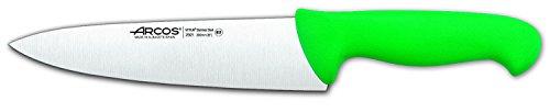 Arcos Serie 2900, Cuchillo Cocinero, Hoja de Acero Inoxidable Nitrum de 200 mm, Mango inyectado en Polipropileno Color Verde