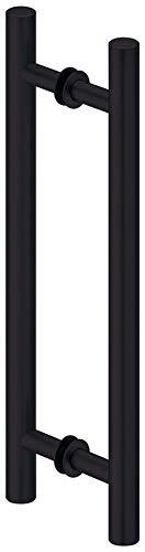 ALPENSTAHL Stangengriff schwarz matt Ziehgriff Aluminium Stoßgriff für Holz- & Glastüren | Türgriff für Schiebetüren | 400 mm x 300 mm | 1 Paar - Design Schiebetürgriff beidseitig für Zimmertüren