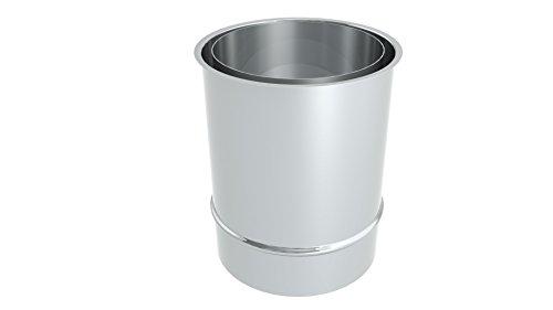 Ofenrohr - Wandfutter DC01 Stahl doppelt 200 mm, unlackiert; 150mm Durchmesser, Edelstahl