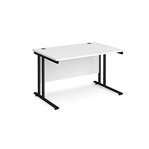 Maestro 25 - Escritorio rectangular (800 mm de profundidad, patas voladizas, 120 cm), color blanco