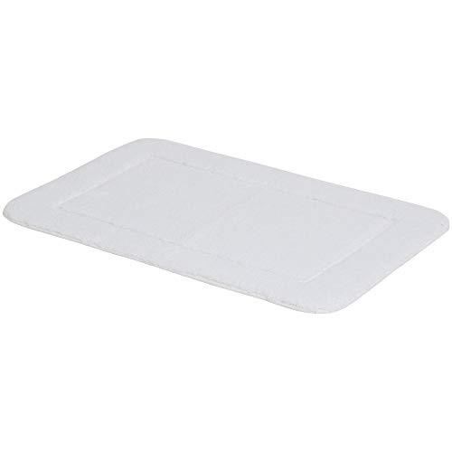 Amazon Basics - Juego de 2 piezas de alfombrillas de baño con borde con relieve - Blanco