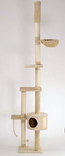 animal-design Katzen-Kratzbaum deckenhoch XXL beige oder braun - Lucy - mit Liegemulde, Wohnhöhle, Spielseil und Spielmaus, Farbe:beige 100
