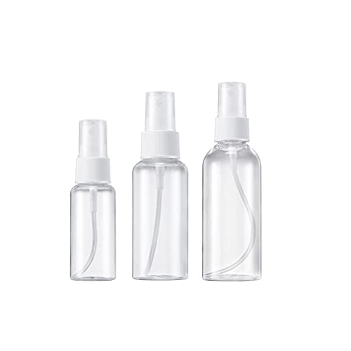 Pulverizador 3PCS Spray Botella Transparente Plástico Atomizador Rellenables 30ml 60ml 80ml Viaje Conjunto de Botellass Spray Bottle para Perfume aceites esenciales