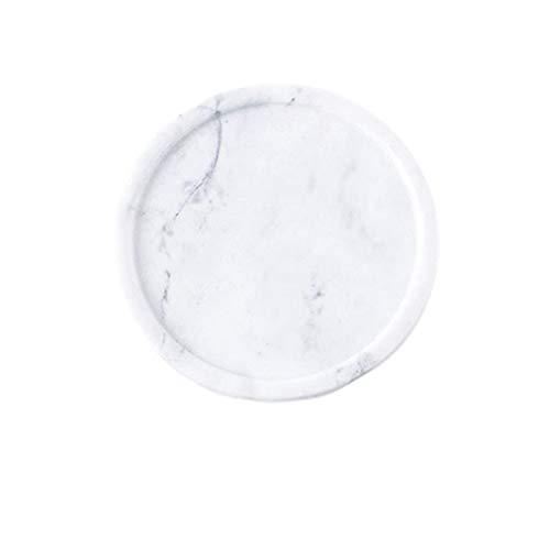 GARNECK anillo de mármol natural plato de joyería bandeja decorativa baratija plato de postre accesorios de boda regalo (blanco grisáceo)