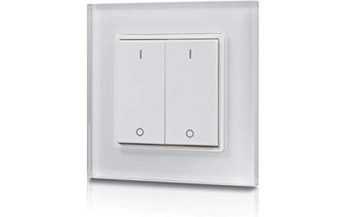 Funk-LED-Dimmer Wandaufbau Doppel- Wippschalter 2-Zonen Sender (SR-2833K2) Batteriebetrieben für SR-1009xx Empfänger