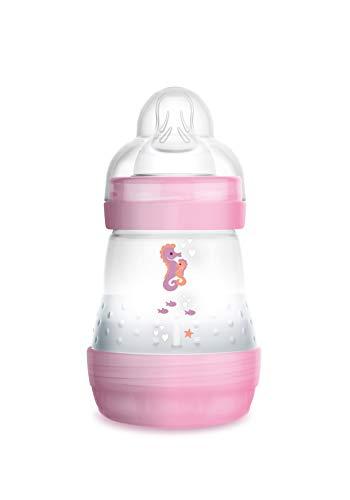 MAM Easy Start Anti-Colic Babyflasche (160 ml) – Babyflasche mit Bodenventil gegen Koliken – Baby Trinkflasche mit Sauger Größe 1, ab der Geburt, Seepferdchen, rosa