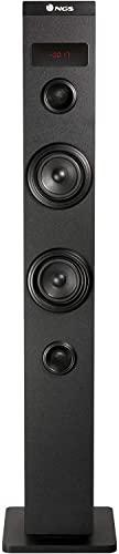 NGS Sky Charm - Torre de Sonido Bluetooth 50W con Mando a Distancia, Entrada Óptica, USB, Radio FM y AUX IN (Color Negro)
