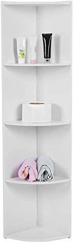 Estante esquinero de 4 niveles, color blanco, estante de madera para libros, estante de pared, estante de esquina para baño, estante de esquina para cocina, sala de estar, baño, color blanco