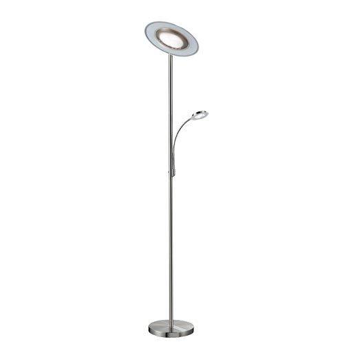 Lámpara de pie de Salon I Modernas LED I Iluminación I Níquel mate I Metal y vidrio I Regulable y orientable I 230 V I IP20 I 21 W I Altura: 1795 mm