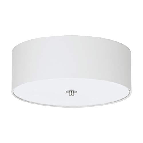 EGLO Deckenlampe Pasteri, 3 flammige Textil Deckenleuchte, Material: Stahl, Stoff, Glas, Farbe: Nickel matt, weiß, Fassung: E27, Ø: 47,5 cm