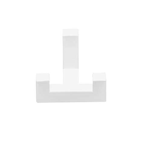 Gedotec Garderobenhaken Doppel-Haken weiß Huthaken eckig - TETRIS | Türhaken 2-fach | Kleiderhaken 40 x 52 mm | Wand-Haken Garderobe unsichtbar | 1 Stück - Design Mantelhaken für die Wand-Montage