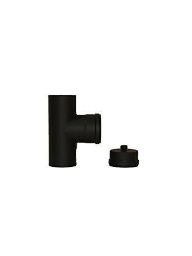 LANZZZAS Pellet rookpijp pelletkachel pelletschoorsteenpijp T-stuk met reinigingscapsule en condensafvoer kleur zwart Ø 100 mm