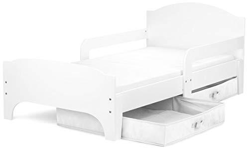 Leomark Smart Cama Infantil de Madera - Blanco- Marco de Cama, Colchón y Cajón, robustro Cómodo Dormitorio Impresa, Muebles Para Niños, Espacio para dormir: 140/70 cm