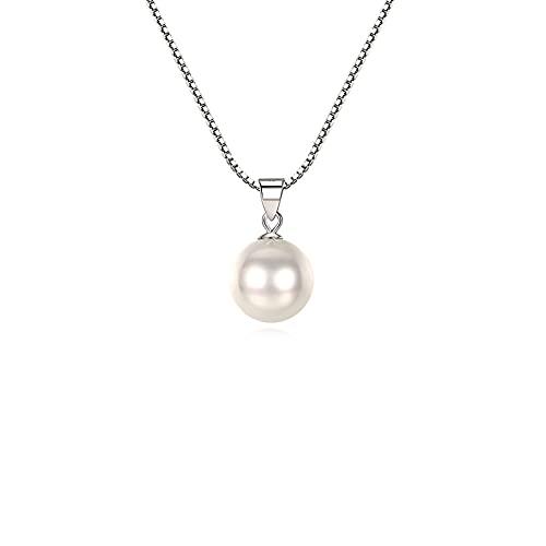 YAZHUANG8 El Collar Colgante de la Perla cultivada de la Fuente de Perlas para Las Mujeres con diseño Infinito de Plata esterlina