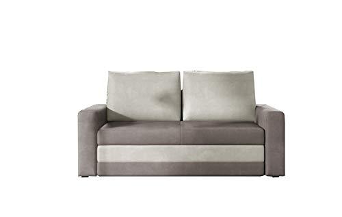 MOEBLO Sofa mit Schlaffunktion ohne Bettkasten, Couch für Wohnzimmer, Schlafsofa Federkern Sofagarnitur Polstersofa Wohnlandschaft mit Bettfunktion - IVO (Grau +Hellgrau (Nubuk 27+Nubuk 21))