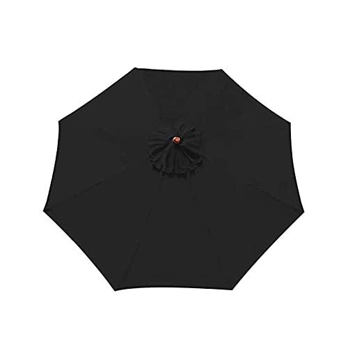 ALEOHALTER Toldo de repuesto para sombrilla de patio, 8 costillas, para patio trasero, anti UV, para sombrilla de mesa, sombrilla (negro, tamaño: 3,5 m)