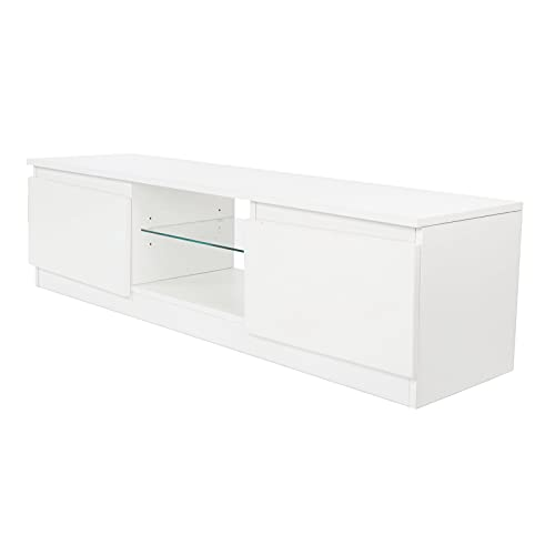 XQAQX Mueble de Soporte para TV, Mueble de TV Blanco con luz LED, Soporte de Mesa para TV Moderno, Muebles de Sala