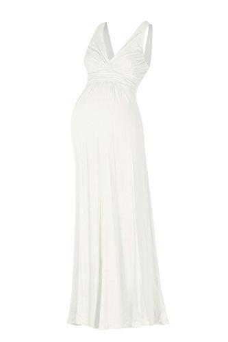 Beachcoco Maternity Sleeveless V Neck Photography Maxi Dress Empire Waist Baby Shower (L, White)