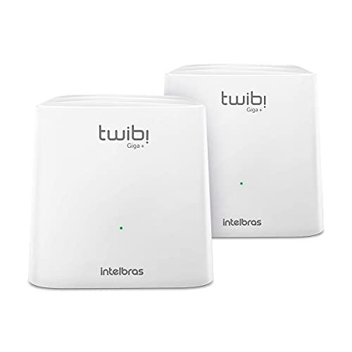 Kit Roteador Wi-Fi Mesh Intelbras 2 Unidades Twibi Giga+ Branco