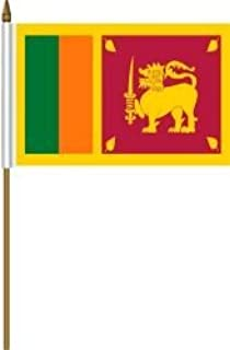 10 CM X 15.2 CM . SRI LANKA SMALL 4 X 6 INCH MINI COUNTRY STICK FLAG BANNER WITH 10 INCH POLE ... GREAT QUALITY POLYESTER .. NEW