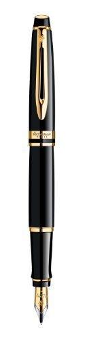 Waterman Expert–Pluma estilográfica y estuche (adornos dorados pluma estilográfica–punta fina por Waterman