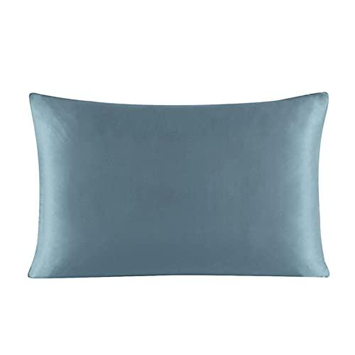 22 Momme Funda de Almohada con Cremallera de Seda 1 Pieza 100% Nature Funda de Almohada Multicolor de Seda de Morera para una Reina estándar Saludable King-Sea Blue, 50x70 cm