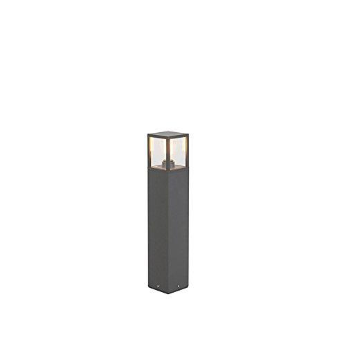 QAZQA Modern Moderne AußenStehleuchte/Stehlampe/Standleuchte/Lampe/Leuchte 65 cm anthrazit IP54 - Zaandam/Außenbeleuchtung Aluminium/Glas Länglich LED geeignet E27 Max. 1 x 15 Watt