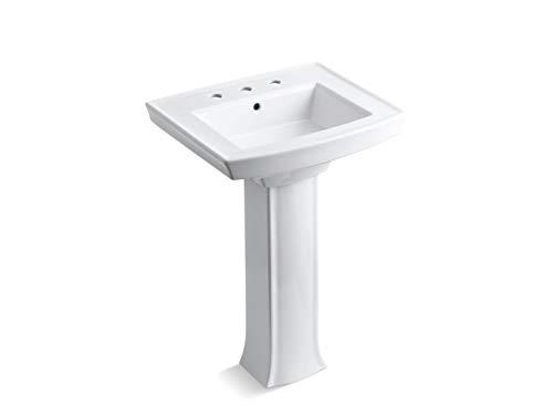 KOHLER K-2359-8-0 Archer Pedestal Bathroom Sink, White