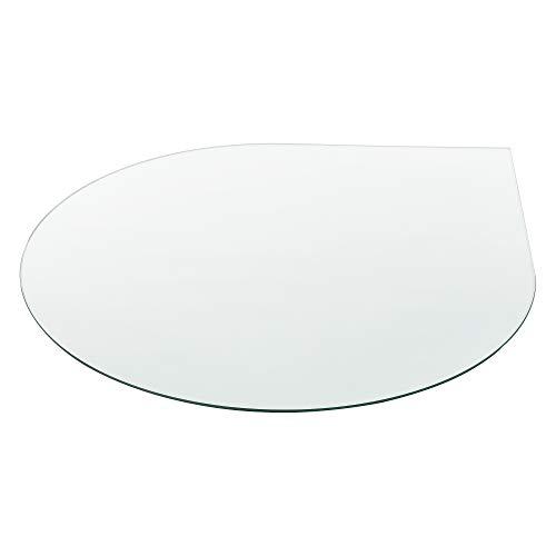 [neu.haus] Glasplatte Ø90cm Rund Tropfenform Glasscheibe Tischplatte ESG Glas Kaminplatte Kaminglas DIY Tisch