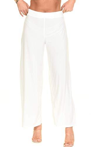 Abocardada Baggy Pantalones Anchos de la Pierna Palazzo Grandes Mujeres Tallas (Blanco, M)